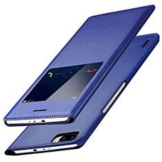 Funda de Cuero Cartera con Soporte L01 para Huawei Honor 6 Plus Azul
