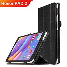 Funda de Cuero Cartera con Soporte L01 para Huawei Honor Pad 2 Negro