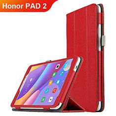 Funda de Cuero Cartera con Soporte L01 para Huawei Honor Pad 2 Rojo