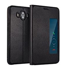 Funda de Cuero Cartera con Soporte L01 para Huawei Mate 10 Negro