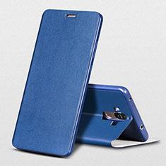 Funda de Cuero Cartera con Soporte L01 para Huawei Mate 9 Azul