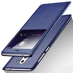 Funda de Cuero Cartera con Soporte L01 para Huawei Mate 9 Lite Azul