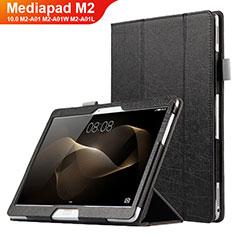 Funda de Cuero Cartera con Soporte L01 para Huawei MediaPad M2 10.0 M2-A01 M2-A01W M2-A01L Negro