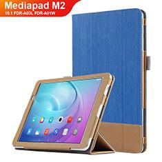 Funda de Cuero Cartera con Soporte L01 para Huawei MediaPad M2 10.1 FDR-A03L FDR-A01W Azul