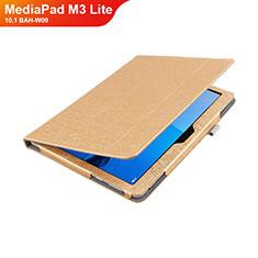 Funda de Cuero Cartera con Soporte L01 para Huawei MediaPad M3 Lite 10.1 BAH-W09 Oro