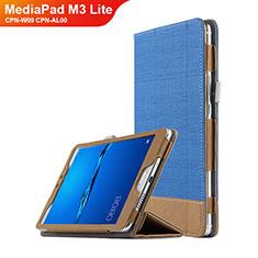 Funda de Cuero Cartera con Soporte L01 para Huawei MediaPad M3 Lite 8.0 CPN-W09 CPN-AL00 Azul
