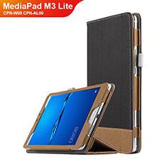 Funda de Cuero Cartera con Soporte L01 para Huawei MediaPad M3 Lite 8.0 CPN-W09 CPN-AL00 Negro
