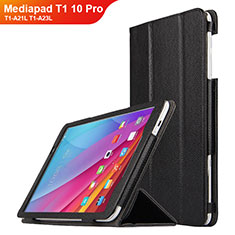 Funda de Cuero Cartera con Soporte L01 para Huawei Mediapad T1 10 Pro T1-A21L T1-A23L Negro