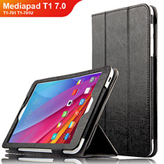 Funda de Cuero Cartera con Soporte L01 para Huawei Mediapad T1 7.0 T1-701 T1-701U Negro