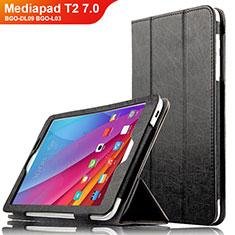 Funda de Cuero Cartera con Soporte L01 para Huawei Mediapad T2 7.0 BGO-DL09 BGO-L03 Negro