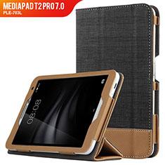 Funda de Cuero Cartera con Soporte L01 para Huawei MediaPad T2 Pro 7.0 PLE-703L Negro