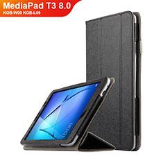 Funda de Cuero Cartera con Soporte L01 para Huawei MediaPad T3 8.0 KOB-W09 KOB-L09 Negro