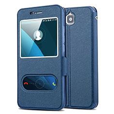 Funda de Cuero Cartera con Soporte L01 para Huawei Y6 Pro Azul