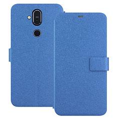 Funda de Cuero Cartera con Soporte L01 para Nokia 7.1 Plus Azul
