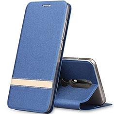 Funda de Cuero Cartera con Soporte L01 para Nokia X5 Azul