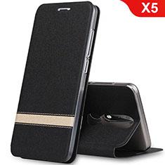Funda de Cuero Cartera con Soporte L01 para Nokia X5 Negro