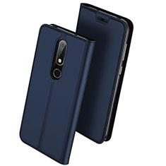 Funda de Cuero Cartera con Soporte L01 para Nokia X6 Azul