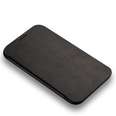 Funda de Cuero Cartera con Soporte L01 para Samsung Galaxy Note 2 N7100 N7105 Negro