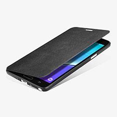 Funda de Cuero Cartera con Soporte L01 para Samsung Galaxy Note 4 Duos N9100 Dual SIM Negro