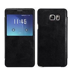 Funda de Cuero Cartera con Soporte L01 para Samsung Galaxy Note 5 N9200 N920 N920F Negro