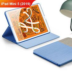 Funda de Cuero Cartera con Soporte L02 para Apple iPad Mini 5 (2019) Azul Cielo