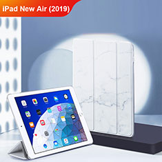 Funda de Cuero Cartera con Soporte L02 para Apple iPad New Air (2019) 10.5 Blanco