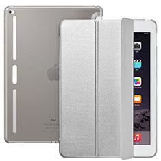 Funda de Cuero Cartera con Soporte L02 para Apple iPad Pro 12.9 Plata