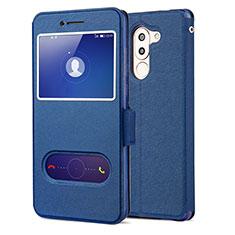 Funda de Cuero Cartera con Soporte L02 para Huawei Mate 9 Lite Azul