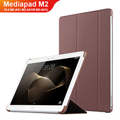 Funda de Cuero Cartera con Soporte L02 para Huawei MediaPad M2 10.0 M2-A01 M2-A01W M2-A01L Marron