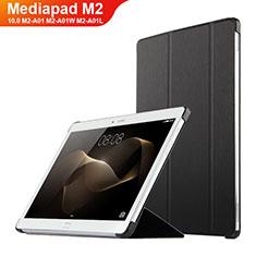 Funda de Cuero Cartera con Soporte L02 para Huawei MediaPad M2 10.0 M2-A01 M2-A01W M2-A01L Negro