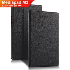 Funda de Cuero Cartera con Soporte L02 para Huawei Mediapad M3 8.4 BTV-DL09 BTV-W09 Negro