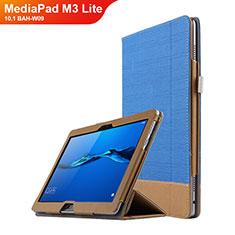Funda de Cuero Cartera con Soporte L02 para Huawei MediaPad M3 Lite 10.1 BAH-W09 Azul
