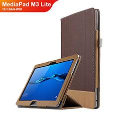 Funda de Cuero Cartera con Soporte L02 para Huawei MediaPad M3 Lite 10.1 BAH-W09 Marron