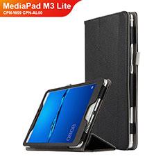 Funda de Cuero Cartera con Soporte L02 para Huawei MediaPad M3 Lite 8.0 CPN-W09 CPN-AL00 Negro