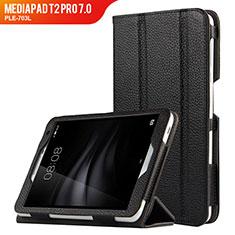 Funda de Cuero Cartera con Soporte L02 para Huawei MediaPad T2 Pro 7.0 PLE-703L Negro