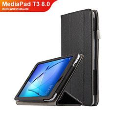 Funda de Cuero Cartera con Soporte L02 para Huawei MediaPad T3 8.0 KOB-W09 KOB-L09 Negro