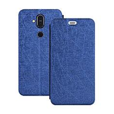 Funda de Cuero Cartera con Soporte L02 para Nokia 7.1 Plus Azul