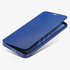 Funda de Cuero Cartera con Soporte L02 para Samsung Galaxy A8 (2018) A530F Azul