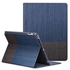 Funda de Cuero Cartera con Soporte L03 para Apple iPad 4 Azul