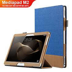 Funda de Cuero Cartera con Soporte L03 para Huawei MediaPad M2 10.0 M2-A01 M2-A01W M2-A01L Azul