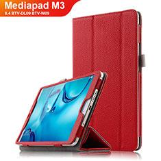 Funda de Cuero Cartera con Soporte L03 para Huawei Mediapad M3 8.4 BTV-DL09 BTV-W09 Rojo