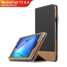 Funda de Cuero Cartera con Soporte L03 para Huawei MediaPad T3 8.0 KOB-W09 KOB-L09 Negro