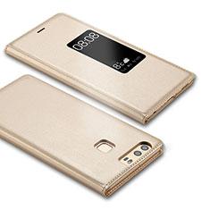 Funda de Cuero Cartera con Soporte L03 para Huawei P9 Oro