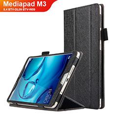 Funda de Cuero Cartera con Soporte L04 para Huawei Mediapad M3 8.4 BTV-DL09 BTV-W09 Negro