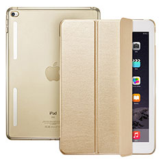 Funda de Cuero Cartera con Soporte L06 para Apple iPad Mini 4 Oro