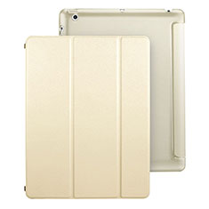Funda de Cuero Cartera con Soporte para Apple iPad 3 Oro