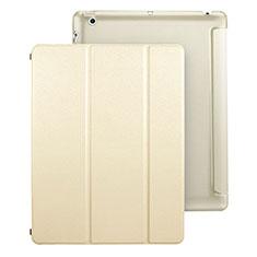 Funda de Cuero Cartera con Soporte para Apple iPad 4 Oro