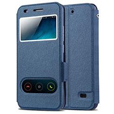 Funda de Cuero Cartera con Soporte para Huawei Ascend G620S Azul
