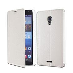 Funda de Cuero Cartera con Soporte para Huawei Ascend Mate 2 Blanco