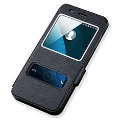 Funda de Cuero Cartera con Soporte para Huawei Honor 4A Negro